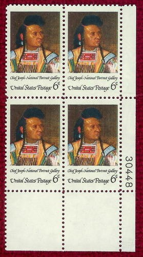 US Stamp #1364 MNH – American Indian – Plate Block of 4