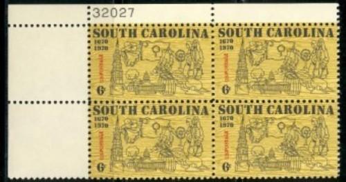 US Stamp #1407 MNH – South Carolina Statehood – Plate Block of 4