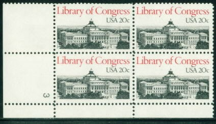 US Stamp #2004 MNH Library of Congress Plate Block of 4