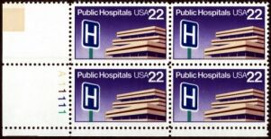 US Stamp #2210 MNH – Public Hospitals – Plate Block of 4