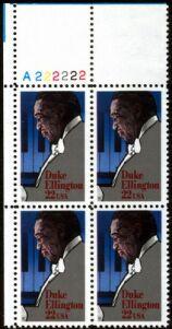 US Stamp #2211 MNH Performing Arts – Ellington – Plate Block of 4