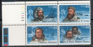 US Stamp #2220-3 MNH – Se-Tenant Explorers – Plate Block of 4