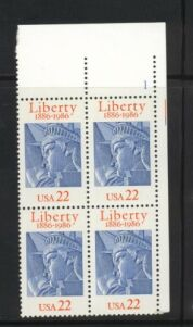 US Stamp #2224 MNH – Statue of Liberty – Plate Block of 4