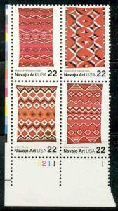 US Stamp #2229-32 MNH – Se-Tenant Navajo Art – Plate Block of 4
