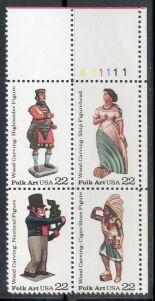 US Stamp #2240-3 MNH – Se-Tenant Wood Carvings – Plate Block of 4