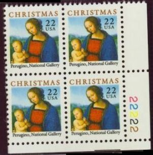 US Stamp #2244 MNH – Madonna and Child – Plate Block of 4