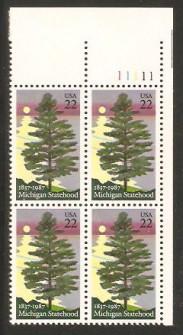 US Stamp #2246 MNH – Michigan Statehood – Plate Block of 4