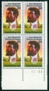 US Stamp #2249 MNH Black Heritage – DuSable – Plate Block of 4