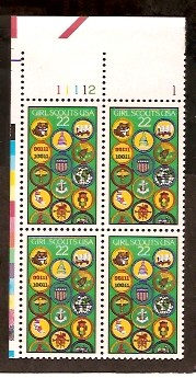 US Stamp #2251 MNH – Girl Scouts – Plate Block of 4