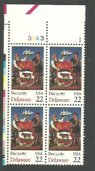 US Stamp #2336 MNH Constitution Ratification – Delaware – Plate Block of 4