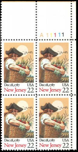 US Stamp #2338 MNH Constitution Ratification – New Jersey – Plate Block of 4