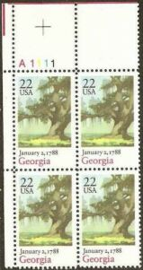 US Stamp #2339 MNH Constitution Ratification – Georgia – Plate Block of 4