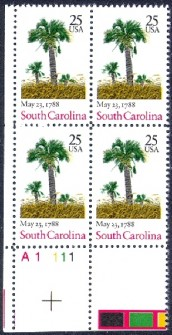 US Stamp #2343 MNH Constitution Ratification – South Carolina – Plate Block of 4