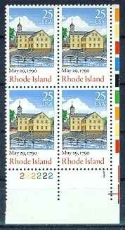 US Stamp #2348 MNH Constitution Ratification – Rhode Island – Plate Block of 4