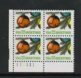 US Stamp #2368 MNH – Christmas Ornament – Plate Block of 4
