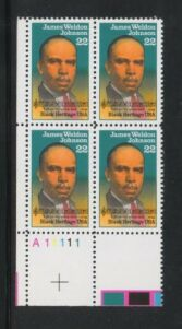 US Stamp #2371 MNH Black Heritage – Johnson – Plate Block of 4