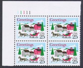 US Stamp #2400 MNH – Christmas Scene – Plate Block of 4