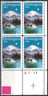 US Stamp #2404 MNH – Washington Statehood – Plate Block of 4