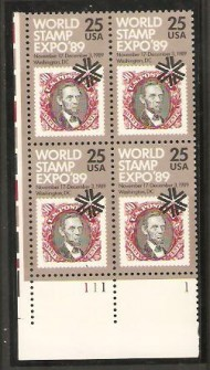 US Stamp #2410 MNH – Stamp Expo '89 – Plate Block of 4