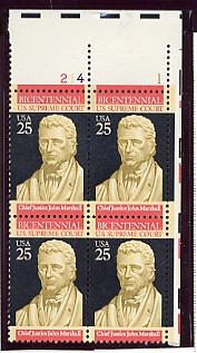 US Stamp #2415 MNH – Supreme Court – Plate Block of 4