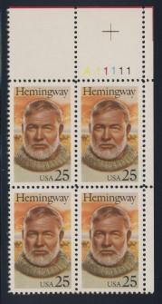 US Stamp #2418 MNH Literary Arts – Hemingway – Plate Block of 4