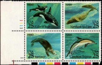 US Stamp #2508-11 MNH – Sea Creatures – Se-Tenant Plate Block of 4