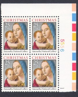 US Stamp #2514 MNH – Madonna and Child – Plate Block of 4