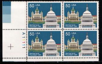 US Stamp #2532 MNH – Switzerland – Plate Block of 4