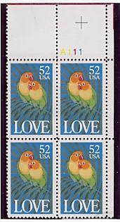 US Stamp #2537 MNH Love Birds – LOVE – Plate Block of 4