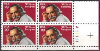 US Stamp #2538 MNH Literary Arts – Saroyan – Plate Block of 4
