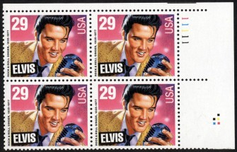 US Stamp #2721 MNH – American Music – Presley Plate Block of 4