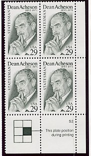 US Stamp #2755 MNH Dean Acheson Plate Block of 4