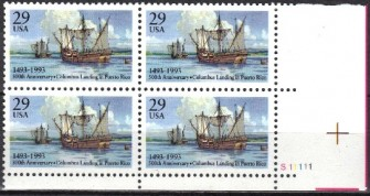 US Stamp #2805 MNH Columbus Lands in Puerto Rico Plate Block of 4