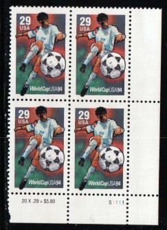 US Stamp #2834 MNH World Cup Soccer '94 Plate Block of 4