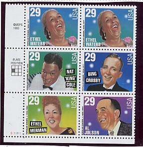 US Stamp #2849-53 MNH – American Music – Se-Tenant Plate Block of 6