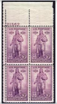 US Stamp #777 MNH – Rhode Island Tercentenary – Plate Block of 4
