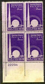 US Stamp #853 MNH – New York World Fair – Plate Block of 4