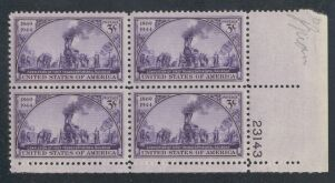 US Stamp #922 MNH – Transcontinental Railroad – Plate Block of 4