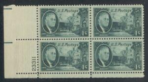 US Stamp #930 MNH – Franklin D. Roosevelt – Plate Block of 4