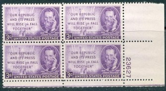 US Stamp #946 MNH – Joseph Pulitzer – Plate Block of 4