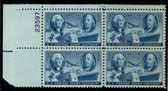 US Stamp #947 MNH – US Postage Stamp Centenary – Plate Block of 4