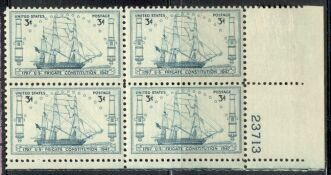 US Stamp #951 MNH – USS Constitution – Plate Block of 4