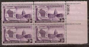 US Stamp #957 MNH – Wisconsin Statehood – Plate Block of 4