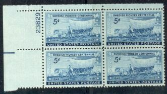 US Stamp #958 MNH – Swedish Pioneers – Plate Block of 4
