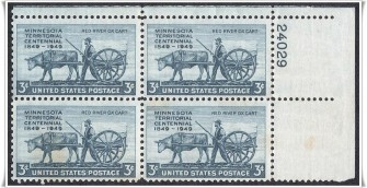 US Stamp #981 MNH – Minnesota Territory – Plate Block of 4