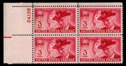 US Stamp #985 MNH – GAR Issue – Plate Block of 4