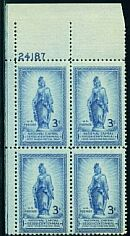 US Stamp #989 MNH – Statue of Freedom – Plate Block of 4