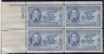 US Stamp #996 MNH – Indiana Territory – Plate Block of 4