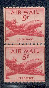 US Stamp #C 37 MNH – DC 4 Skymaster Coil Line Pair