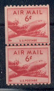US Stamp #C 41 MNH – DC 4 Skymaster Coil Line Pair